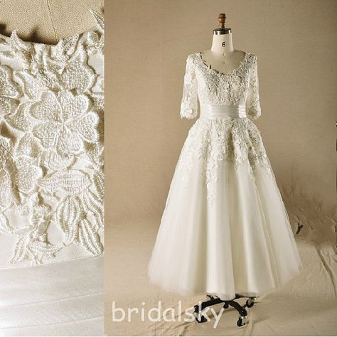 0d1d2c978d1cbdd42e02be5b37b6a2c1 tea length wedding dress lace wedding gowns