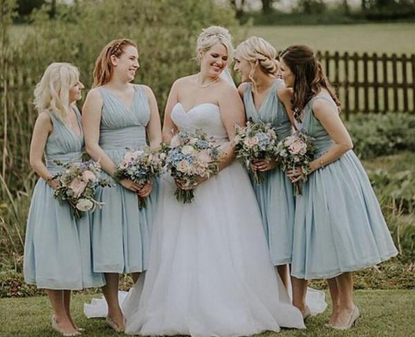 Midi Dresses for Wedding Best Of Ice Blue Chiffon Beach Bridesmaid Dresses Tea Length Wedding