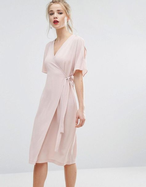 Midi Dresses for Wedding Elegant New Look Cold Shoulder Wrap Midi Dress Wedding