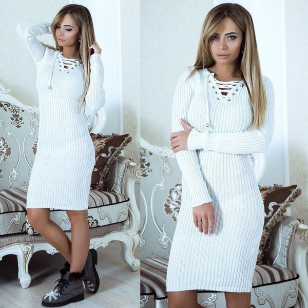 Midi Dresses for Wedding Luxury Warm Women Sweater Dress Fall Winter V Neck Long Sleeve Y Bodycon Midi Knitted Dress solid Slim Casual Dress Dress Styles Wedding Party Dresses