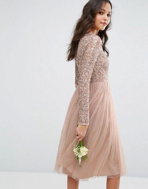 Midi Dresses for Wedding New Vestido Midi De Dama De Honor De Manga Larga Con Falda De