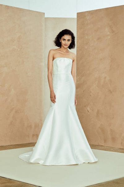 nouvelle by amsale silk mikado strapless fit and flare wedding dress 400x600