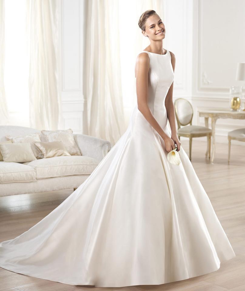 pronovias off white mikado silk ontario modern wedding dress size 10 m 2 1 960 960