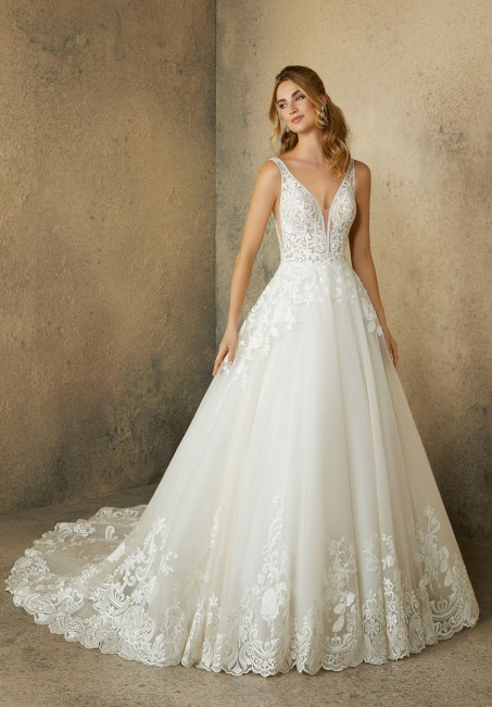 mori lee 2089 robin tiered train bridal dress 01 646