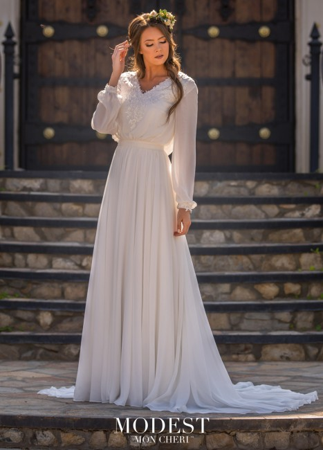 modest bridal by mon cheri tr bishop sleeve bridal dress 01 565