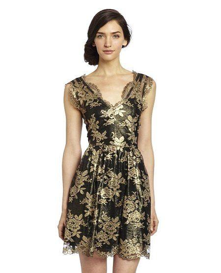 Modest Wedding Guest Dresses New Black and Gold Dress