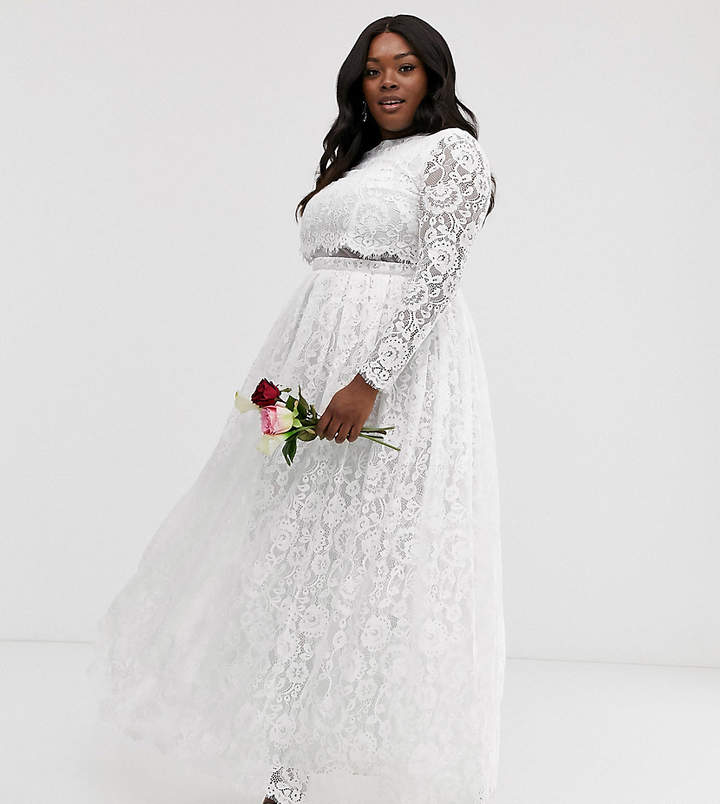 Asos Edition EDITION Curve lace long sleeve crop top maxi wedding dress