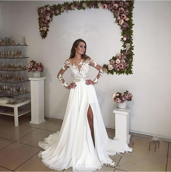 Monique Lhuillier Wedding Dresses Cost Beautiful Discount 2018 A Line Long Sleeves Wedding Dresses High Side Split Summer Bohemian Beach Sheer Neck Lace Applique Country Long Plus Size Bridal Gowns