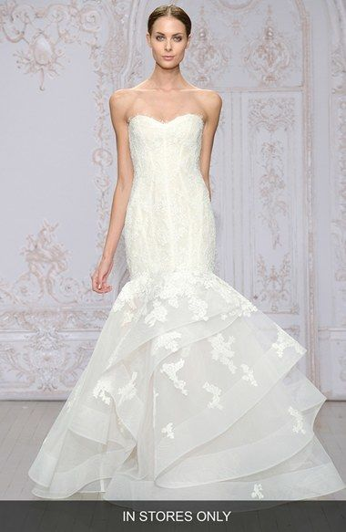 Monique Lhuillier Wedding Dresses Cost Fresh Women S Monique Lhuillier Saffron Strapless Lace & organza