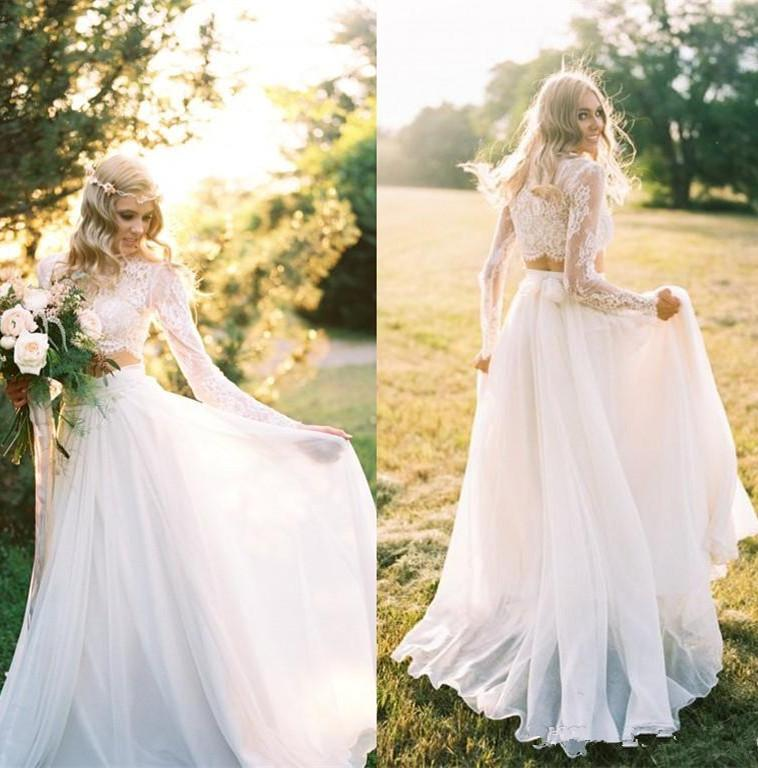 romantic two pieces bohemian wedding dresses