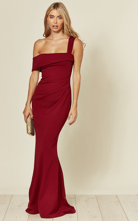 Navy Blue Dresses for Wedding Awesome F the Shoulder Pleated Waist Maxi Dress In Wine Red by Goddiva Product Photo
