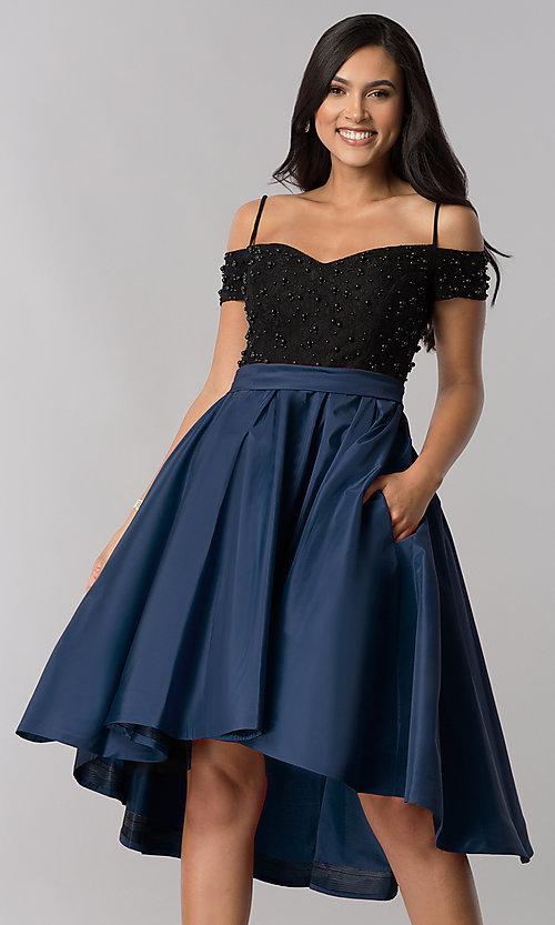 Navy Blue Dresses for Wedding Elegant F Shoulder High Low A Line Home Ing Dress