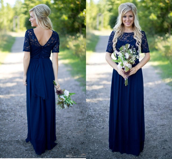 Navy Blue Dresses for Wedding Fresh 2018 Country Bridesmaid Dresses Hot Long for Weddings Navy Blue Chiffon Short Sleeves Illusion Lace Beads Floor Length Maid Honor Gowns Cadbury Purple