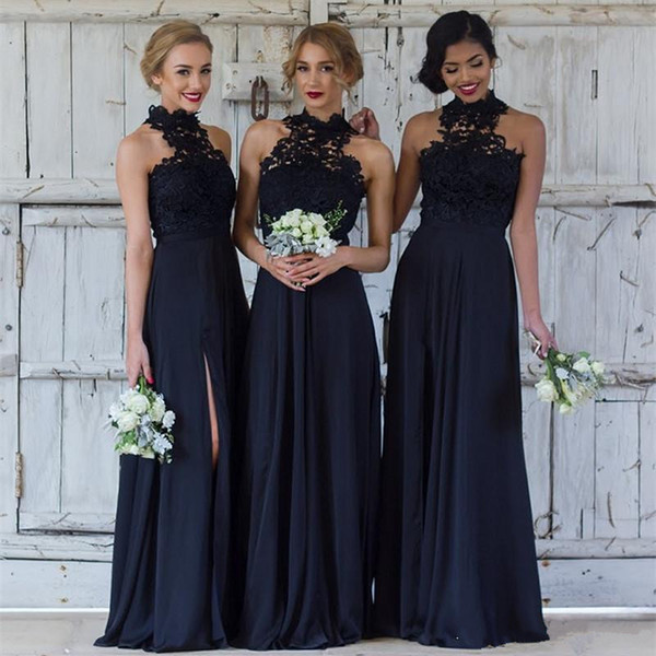 Navy Blue Dresses for Wedding New Elegant Lace Navy Blue Bridesmaid Dresses Y Halter Split Wedding Guest Dress Sheer Backless Chiffon Cheap Maid Honor Gowns Bohemian Bridesmaid