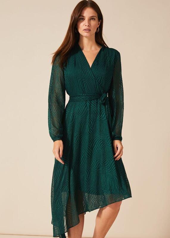01 jenifer clipped jacquard dress