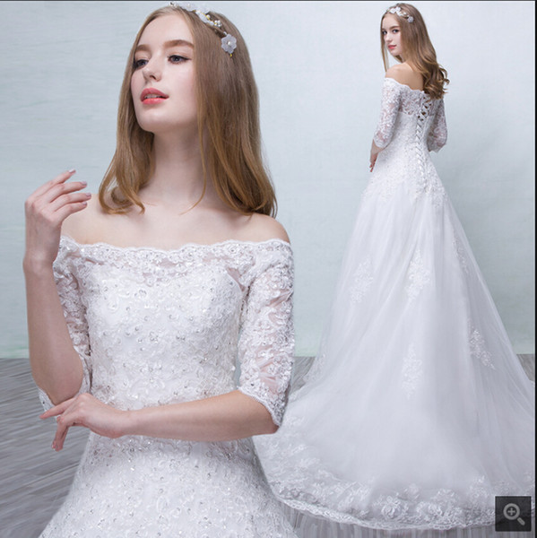 Newest Wedding Dresses Elegant Discount Robe De Mariage New A Line White Lace Appliques Beaded Wedding Dress Court Train F the Shoulder Half Sleeve Modest Wedding Gowns Hot Sale