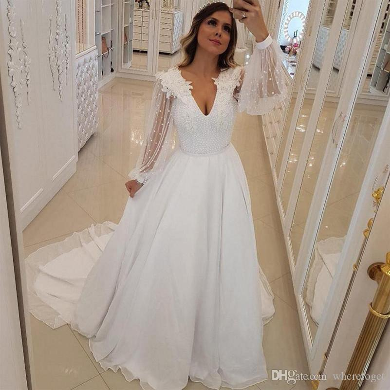 Newest Wedding Dresses Inspirational 2019 New Unique Design A Line Wedding Dresses Pearls Beaded V Neck Bridal Gowns with Long Sheer Sleeves Sweep Train Arabic Wedding Vestidos