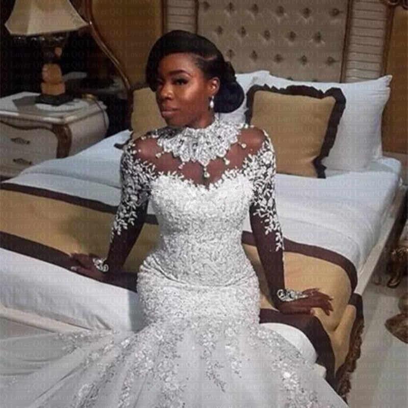 2019 Luxury Gorgeous Neck Wedding Dresses African Nigerian Beaded Sheer Long Sleeves Mermaid Bridal Gowns Arabic q50