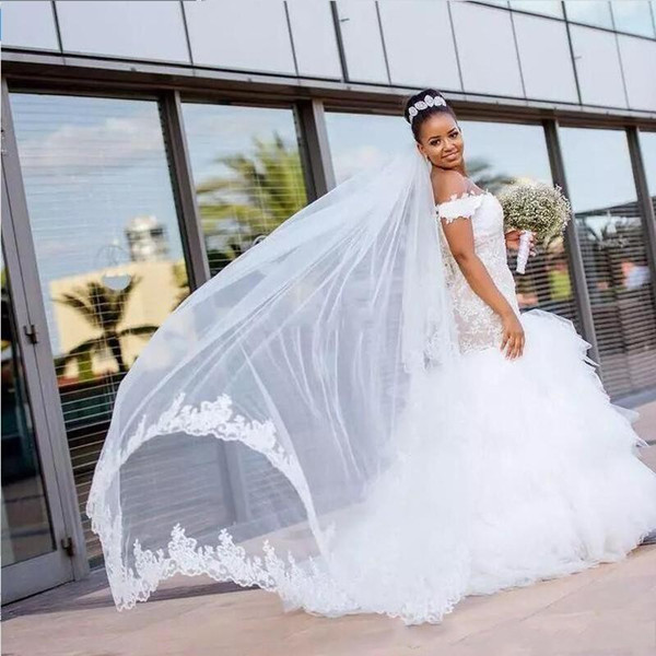 Nigerian Wedding Dresses for Sale Best Of African Nigeria Wedding Dresses F Shoulder Lace Appliques Tiered Skirts Ruffles Sweep Train 2019 formal Fashion Plus Size Bridal Gowns Discount