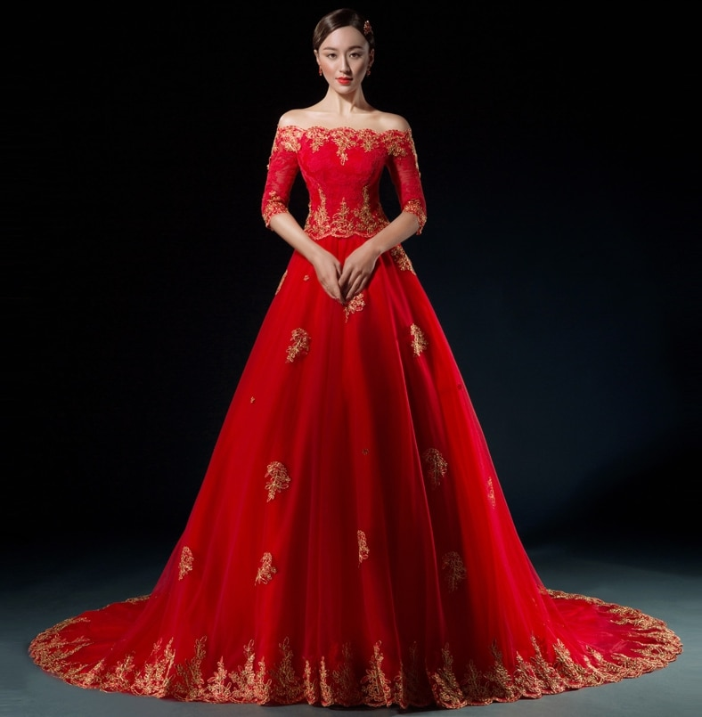 2017 Red Gold Arabic Wedding Dresses Half Sleeves f the Shoulder Colorful Wedding Gowns With Color