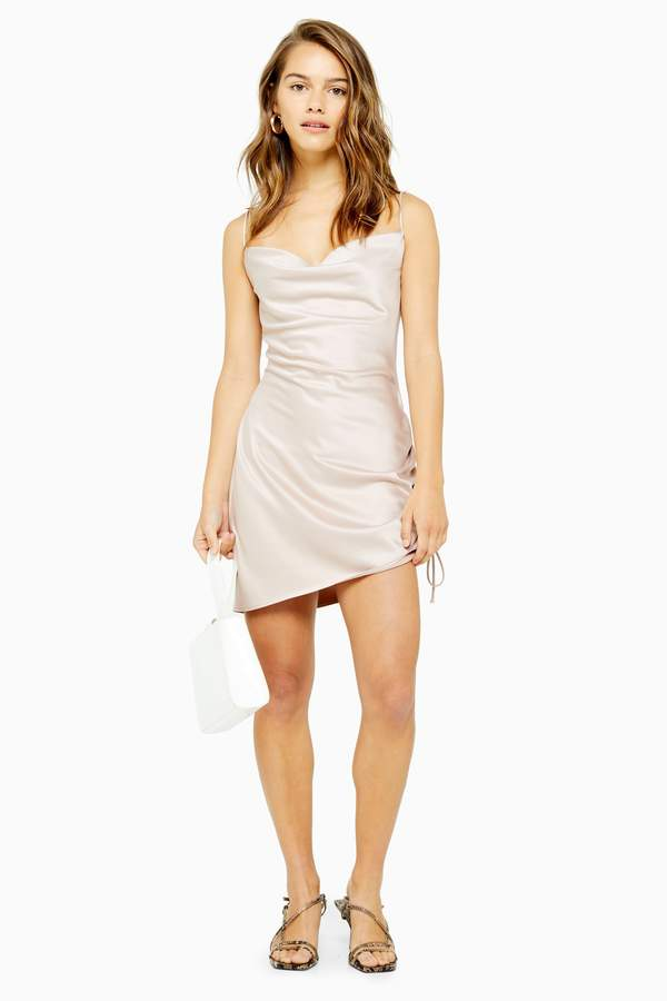 Topshop PETITE Ruched Side Mini Slip Dress