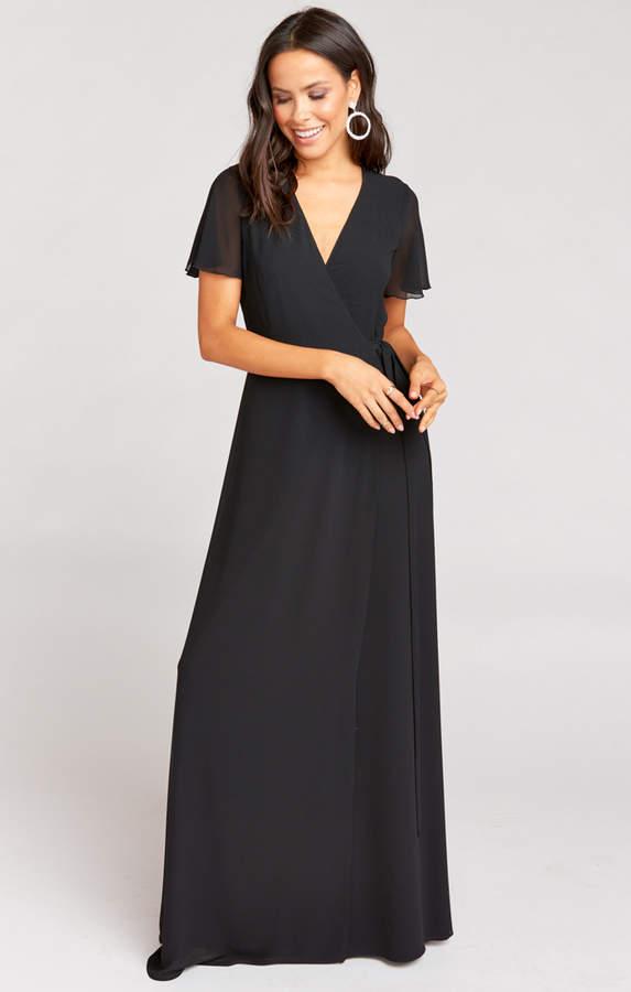 Show Me Your Mumu Noelle Flutter Sleeve Wrap Dress Black Chiffon