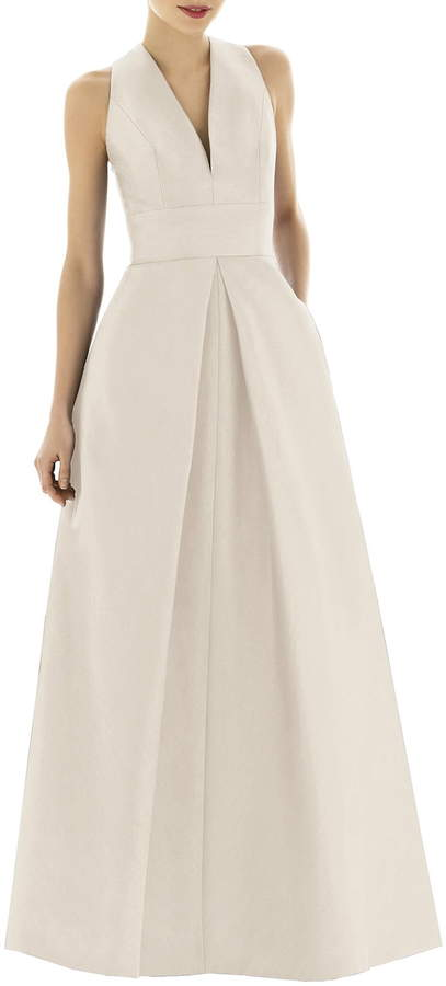 Alfred Sung V Neck Dupioni Evening Gown