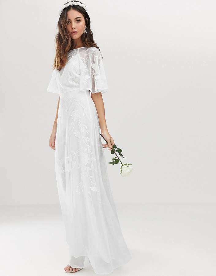 Asos Edition EDITION embroidered flutter sleeve wedding dress