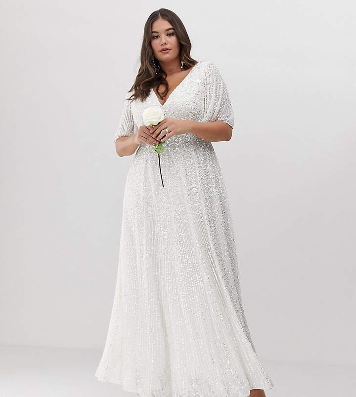 Asos Edition EDITION Curve flutter sleeve sequin maxi wedding dress
