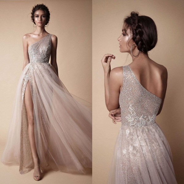 One Shoulder Bridal Gowns Elegant Discount Berta 2018 High Side Split Sequined Wedding Dresses Bohemian E Shoulder Lace Appliqued Bridal Gowns Vestido De Novia Wedding Dresses Under