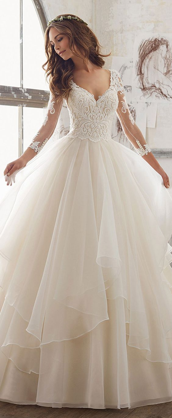 Organza Wedding Dress Fresh Lavish Tulle & organza V Neck A Line Wedding Dresses with