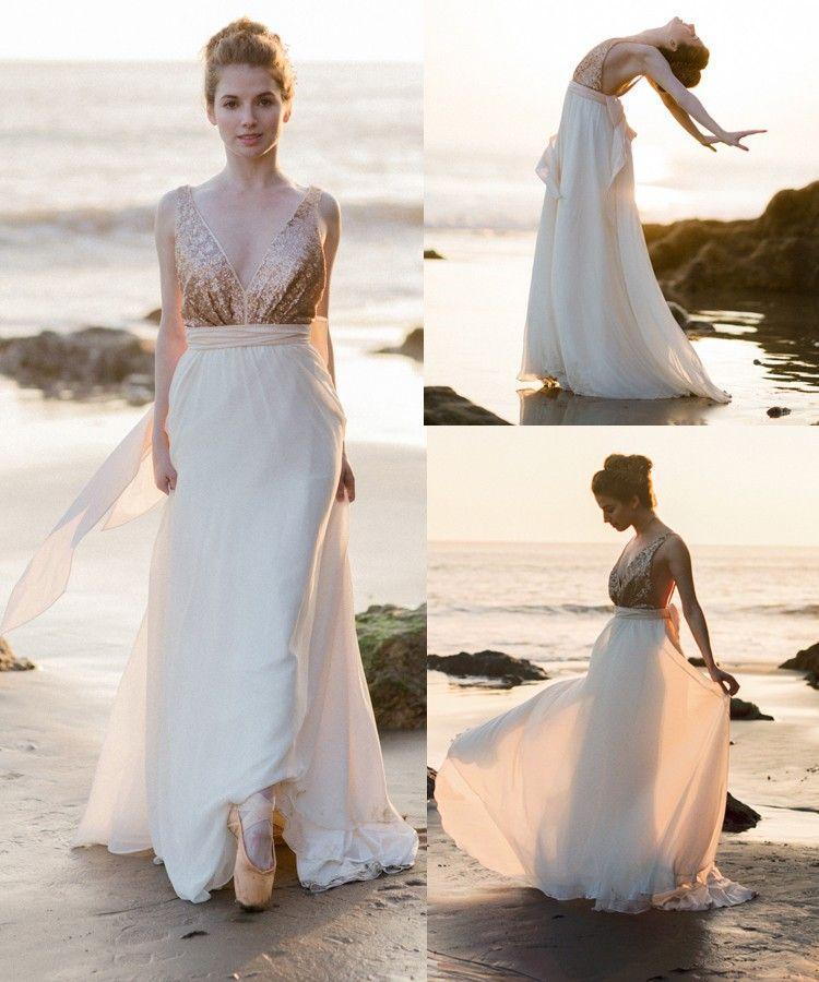 Outside Wedding Dresses New Y Open Back Deep V Neckline Sequins Wedding Dress