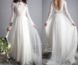 Outside Wedding Dresses Unique Sretchy Lace Sleeves Elegant Wedding Dress Open Back Chiffon