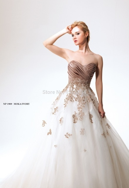 2016 White And Brown Vintage Colorful Wedding Dresses Two Tone Ball Gown Long AppliquesTulle Sweetheart Bridal 640x640