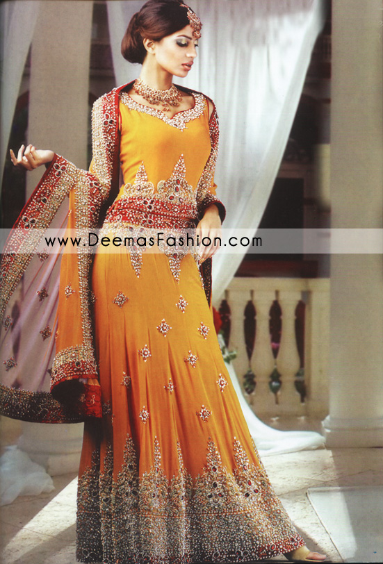 Traditional Pakistani Bridal Wer Golden Yellow Lehnga