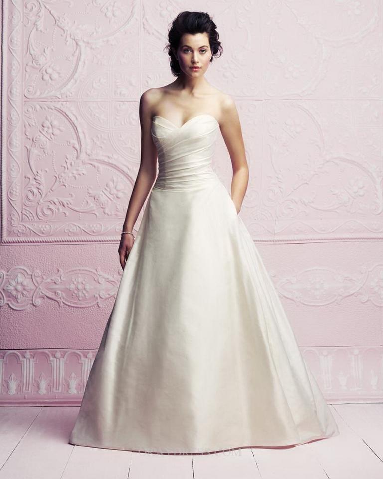paloma blanca cream silk dupioni strapless a line formal wedding dress size 8 m 0 0 960 960