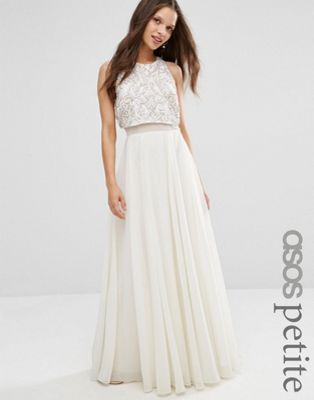 Petite Dresses for Wedding Beautiful Petite All Over Embellished Crop top Maxi Dress