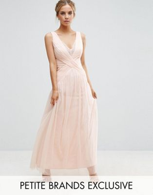 Petite Dresses for Wedding Unique Little Mistress Petite Pleated Wrapover Maxi Dress with Lace