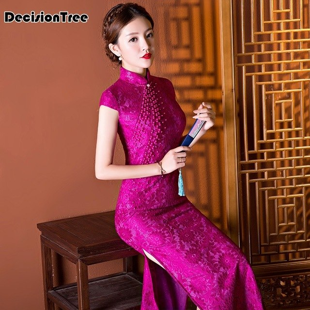 Shop Authentic 2019 new trends red chinese traditional dress women silk rayon cheongsam top long dripping qipao floral 1q0D tjw0