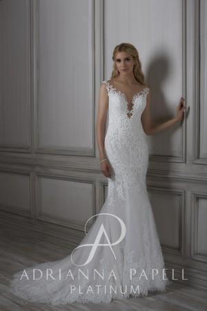 adrianna papell lara sheer back bridal dress 01 316