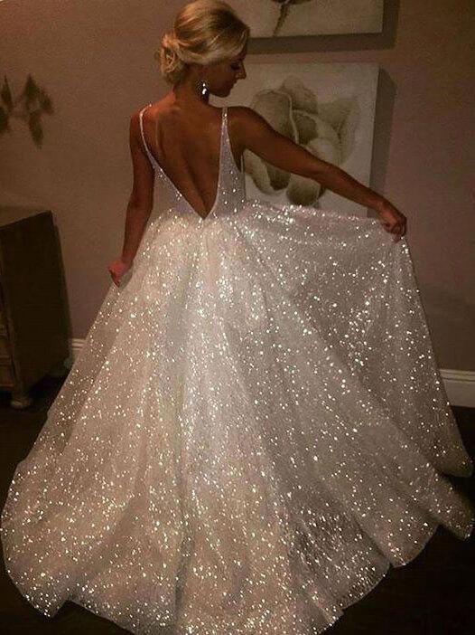 A Line Backless Beach Wedding Dress V Neck Sequins Ivory Wedding Gowns 1200x1200