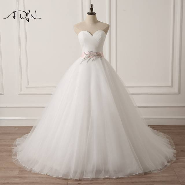 ADLN Sweetheart Sleeveless Puffy Wedding Dress with Pink Sash A line White Ivory Tulle Princess Bridal 640x640q70