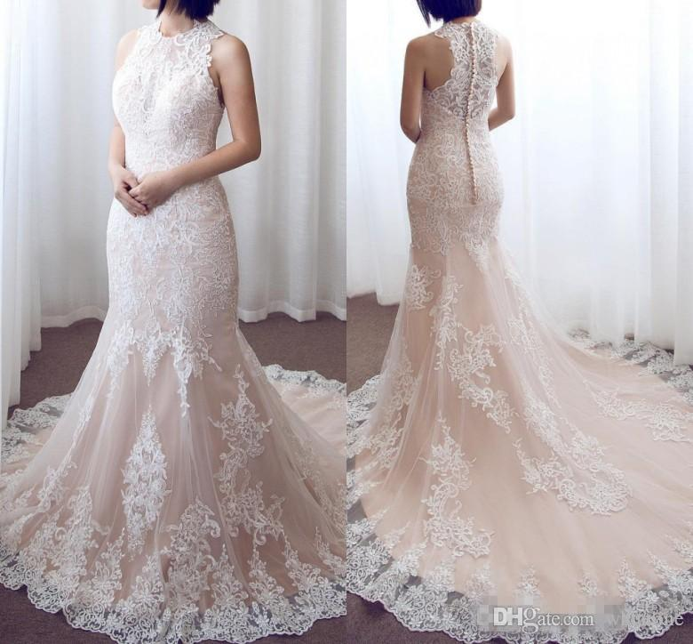 2018 pink lace mermaid wedding dresses sleeveless