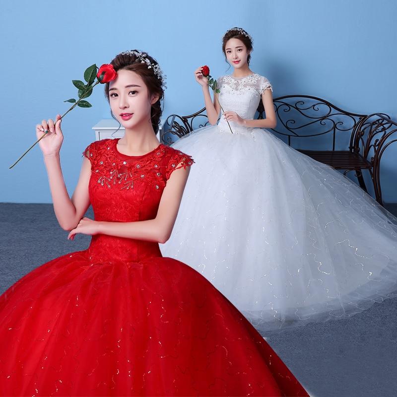 vestido de noiva vintage princess ball gown short sleeves wedding dress 2017 lace applique vestiod de