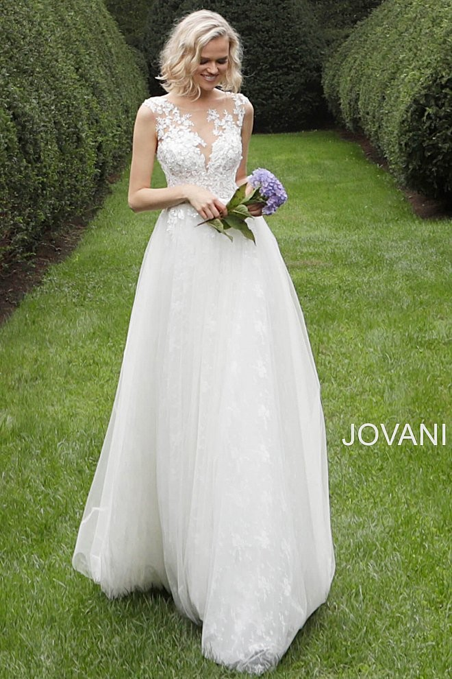 jovani jb long train simple wedding dress 01 688