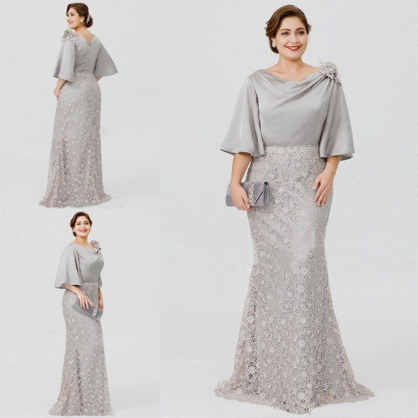 Plum Wedding Dresses Beautiful 2019 New Silver Elegant Mother the Bride Dresses Half Sleeve Lace Mermaid Wedding Guest Dress Plus Size formal evening Gowns Plum Mother the