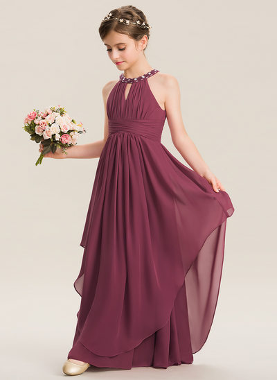 Plum Wedding Dresses Elegant Affordable Junior & Girls Bridesmaid Dresses