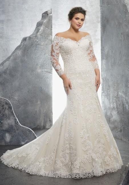 mori lee 3231 kameron off the shoulder long sleeve plus size wedding dress 01 288