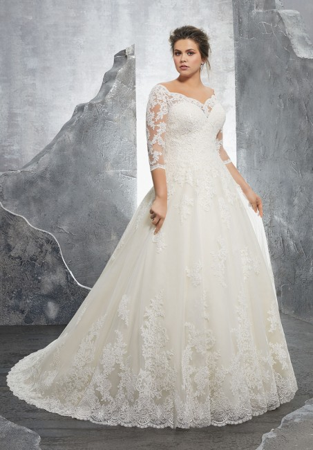 mori lee 3235 kosette portrait neckline plus size wedding gown 01 288