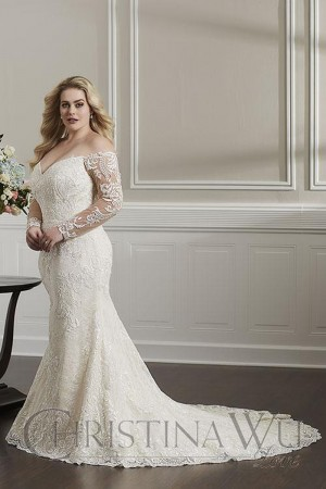 christina wu long sleeve plus size wedding gown 01 543